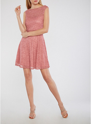 Sleeveless Lace Skater Dress,PINK,large