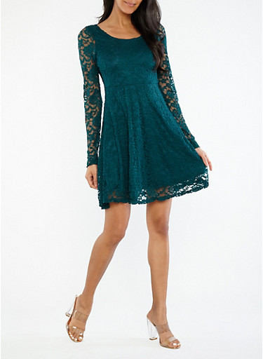 Long Sleeve Lace Babydoll Dress,HUNTER,large