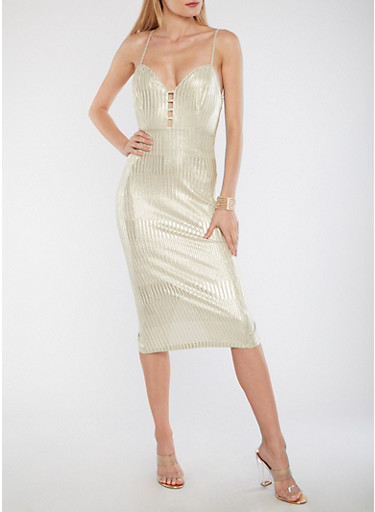 Striped Metallic Bodycon Dress,IVORY-GOLD,large