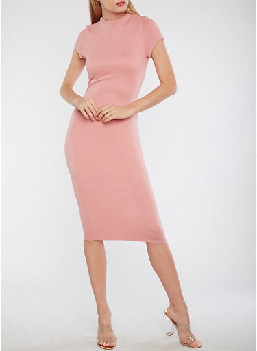 Solid Funnel Neck Bodycon Dress,MAUVE,large