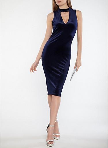 Velvet Choker Neck Midi Dress,NAVY,large