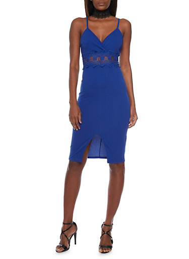 Sleeveless Bodycon Dress with Lace Cutout,RYL BLUE,large