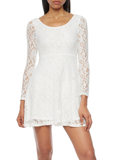 Lace Skater Dress with Long Sleeves,IVORY,large