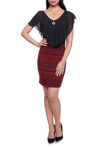 Bodycon Dress with Geometric Skirt and Necklace,BLACK/BURGUNDY,large
