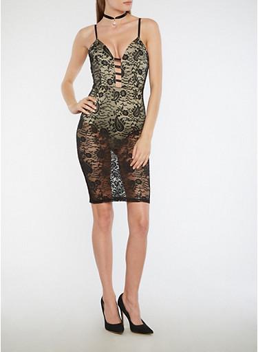 Transparent Lace Dress with Nude Bodysuit,BLACK/NUDE,large