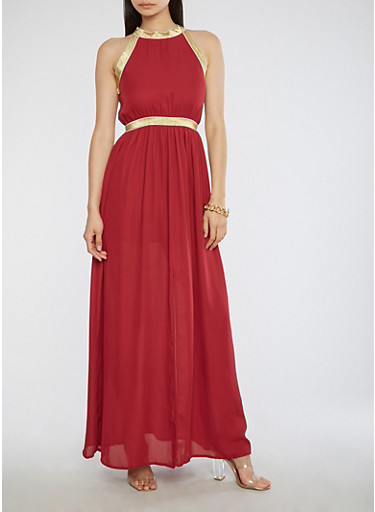 Metallic Gold Trim Maxi Dress with Back Keyhole,BURGUNDY,large
