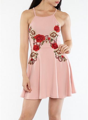 Crepe Knit Floral Applique Skater Dress,MAUVE,large