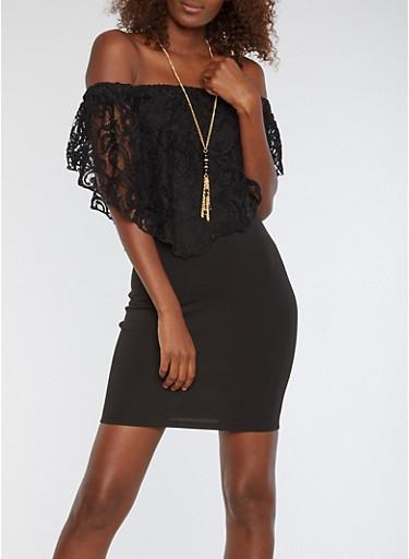 Off the Shoulder Crochet Overlay Bodycon Dress,BLACK,large