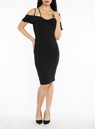 Crepe Knit Off the Shoulder Bodycon Dress,BLACK,large
