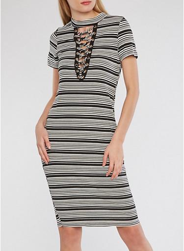 Ribbed Knit Striped Lace Up Dress,BLACK-IVORY,large