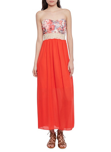 Strapless Sweetheart Maxi Dress with Floral Bodice,CORAL,large