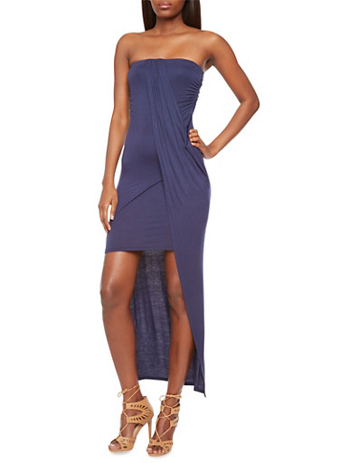 Draped Strapless Dress with High-Low Hem,NAVY,large