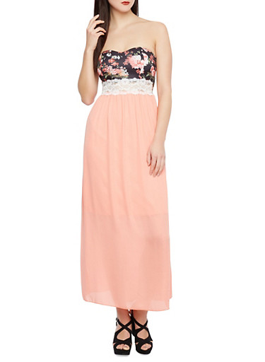 Solid Maxi Dress with Floral Print Bodice and Lace Trim,BLACK/PEACH,large