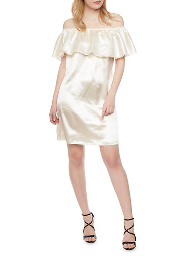 Off the Shoulder Satin Dress with Ruffled Neckline,IVORY,large