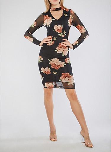 Floral Mesh Choker Neck Bodycon Dress,BLACK,large