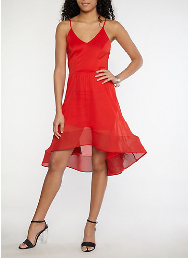 Wired Mesh Hem Skater Dress,RED,large