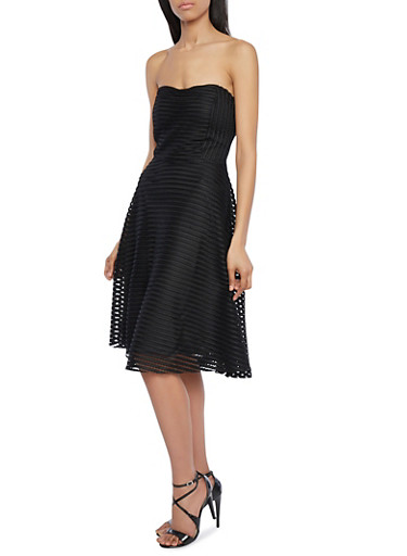 Strapless Mesh Dress with Exposed Back Zipper,BLACK,large