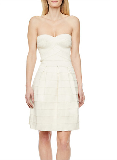 Strapless Bandage Bustier Dress,BUTTER,large