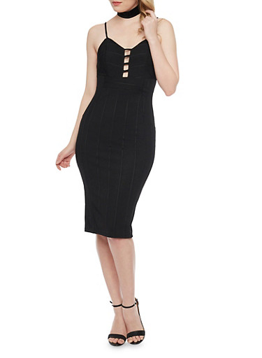 Ribbed Spaghetti Strap Bodycon Dress,BLACK,large