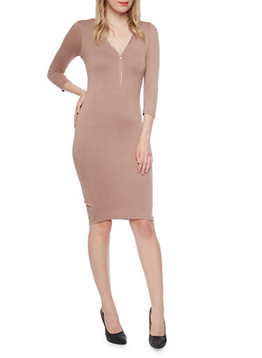 Mid Length Bodycon Dress with Zippered V Neck,COCOA,large