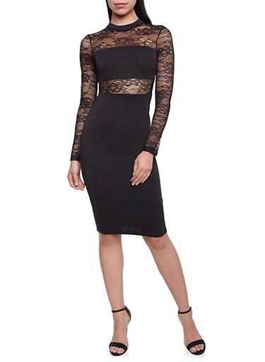 Lace Paneled Dress,BLACK,large