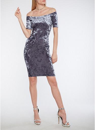 Off the Shoulder Crushed Velvet Midi Dress,SILVER,large