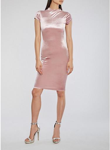 Velvet Funnel Neck Midi Dress,MAUVE,large