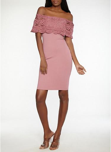 Crochet Overlay Off the Shoulder Dress,MAUVE,large