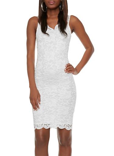 Lace Midi Dress with Double V Neck,WHITE,large