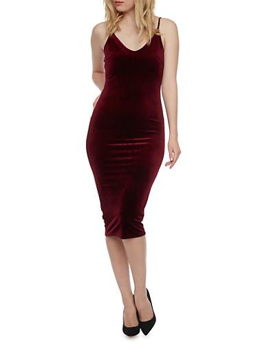 Velvet Slip Dress,BURGUNDY,large
