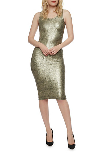 Sleeveless Midi Dress in Metallic Knit,GOLD,large