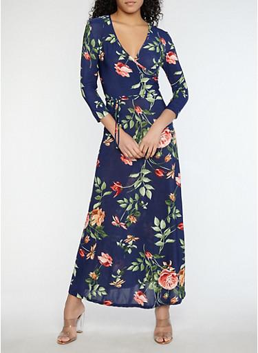Floral Faux Wrap Maxi Dress,NAVY,large