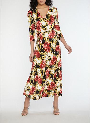 Floral Faux Wrap Maxi Dress,BLACK/CARMINE/GOLD,large