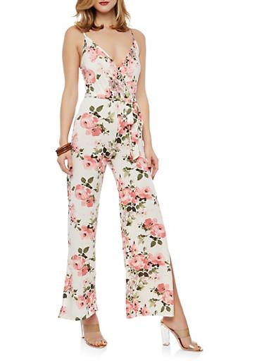 Belted Floral Slit Leg Palazzo Jumpsuit,IVORY/ROSE,large