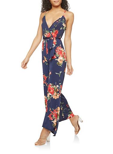 Faux Wrap Floral Print Jumpsuit,NAVY,large