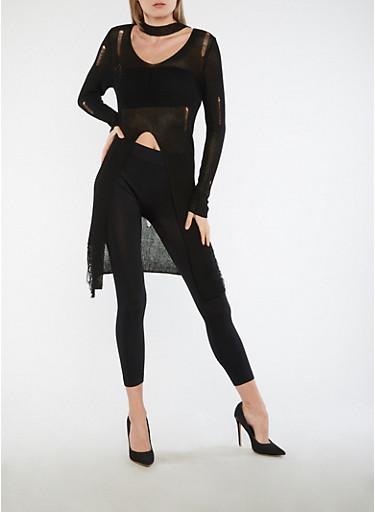 Long Sleeve Distressed Keyhole Neck Sweater,BLACK,large