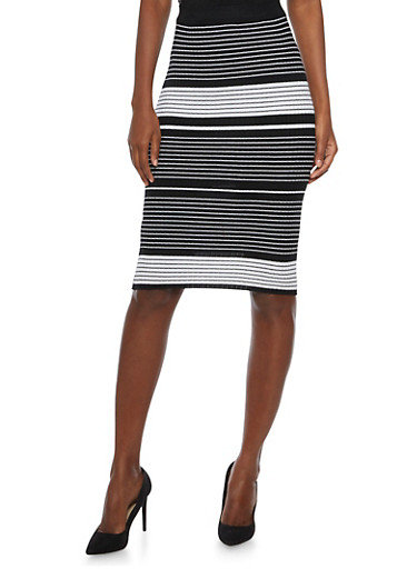 Pencil Skirt with Varied Stripes,BLACK,large