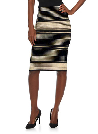 Pencil Skirt with Varied Stripes,KHAKI,large