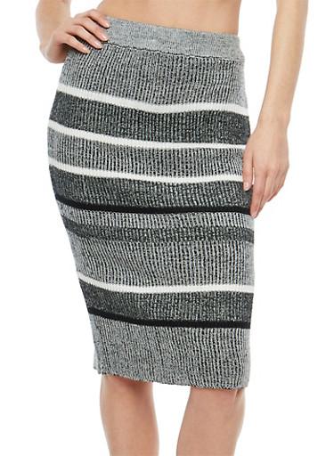 Striped Rib Knit Pencil Skirt,BLACK,large
