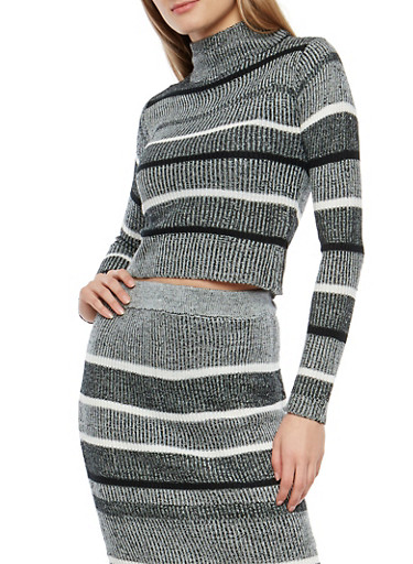 Striped Rib Knit Turtleneck Sweater,BLACK,large