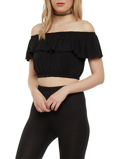 Ruffled Crop Top,BLACK,large