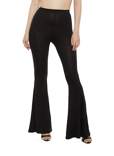 High Waisted Flared Pants,BLACK,large