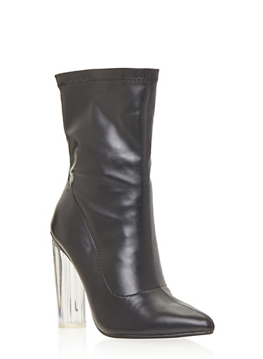 Translucent High Heel Bootie,BLACK LYCRA,large