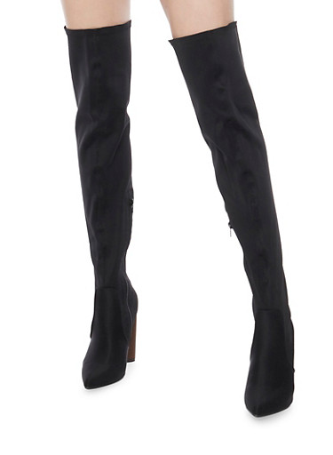 Over The Knee Pointed  High Heel Boots,BLACK LYCRA,large