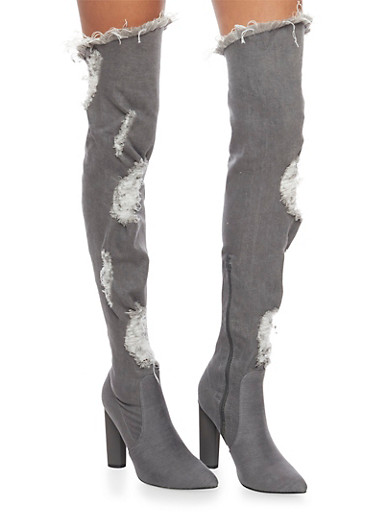 Ripped Thigh High Denim Boots,GRAY DENIM,large