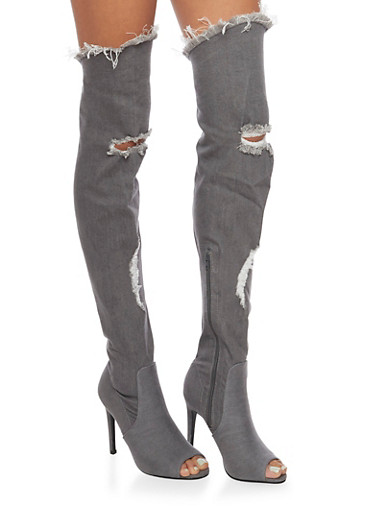 Distressed Thigh High Peep Toe Denim Boots,GRAY,large