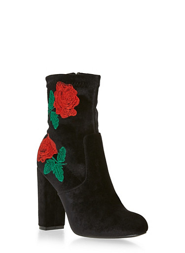 Embroidered Flower Velvet Bootie,BLACK,large