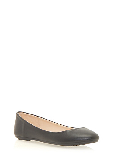 Round Toe Ballet Flats,BLACK,large