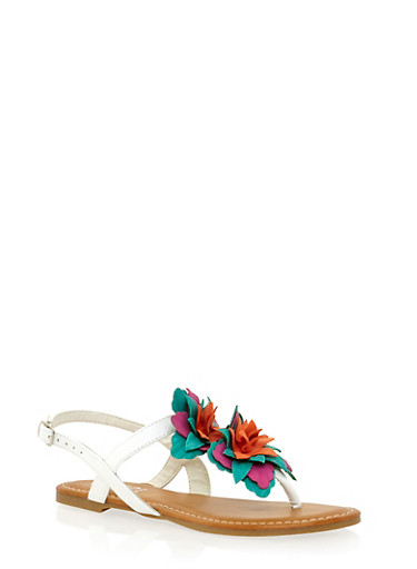 Thong Sandals with Tiered Floral Strap,WHITE BURNISH,large