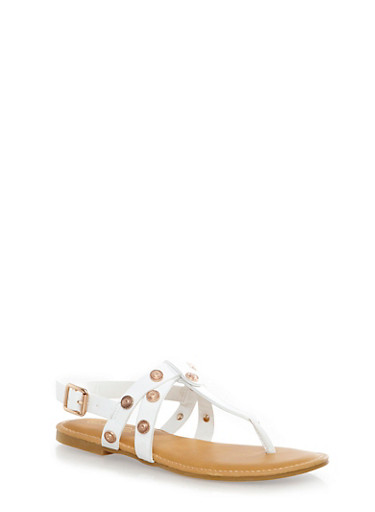 Etched Metal Stud T-Strap Thong Sandals With Strappy Sides,WHITE,large